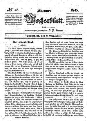 Sorauer Wochenblatt für Unterhaltung, Belehrung und Ereignisse der Gegenwart vom 08.11.1845