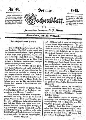 Sorauer Wochenblatt für Unterhaltung, Belehrung und Ereignisse der Gegenwart vom 15.11.1845