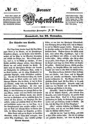Sorauer Wochenblatt für Unterhaltung, Belehrung und Ereignisse der Gegenwart vom 22.11.1845