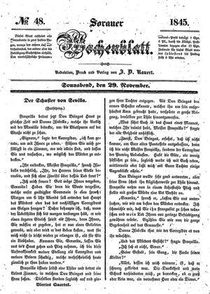 Sorauer Wochenblatt für Unterhaltung, Belehrung und Ereignisse der Gegenwart vom 29.11.1845