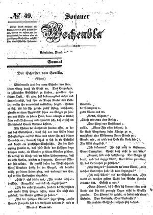 Sorauer Wochenblatt für Unterhaltung, Belehrung und Ereignisse der Gegenwart vom 06.12.1845