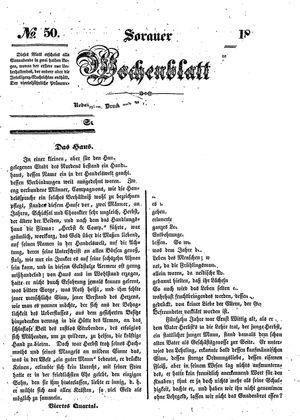 Sorauer Wochenblatt für Unterhaltung, Belehrung und Ereignisse der Gegenwart vom 13.12.1845