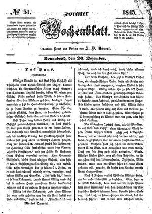 Sorauer Wochenblatt für Unterhaltung, Belehrung und Ereignisse der Gegenwart vom 20.12.1845