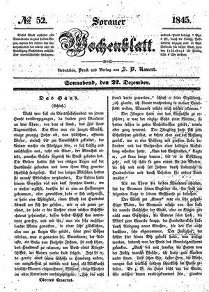 Sorauer Wochenblatt für Unterhaltung, Belehrung und Ereignisse der Gegenwart on Dec 27, 1845