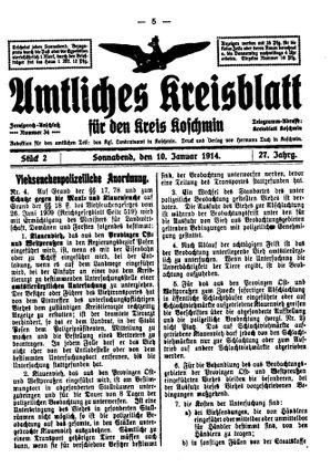 Amtliches Kreisblatt für den Kreis Koschmin vom 10.01.1914