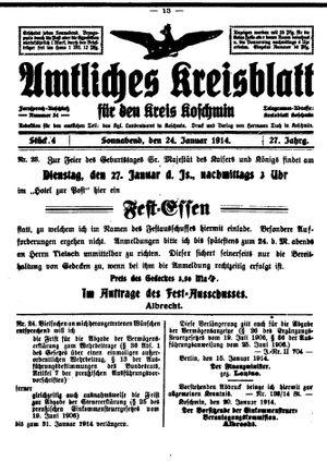 Amtliches Kreisblatt für den Kreis Koschmin vom 24.01.1914