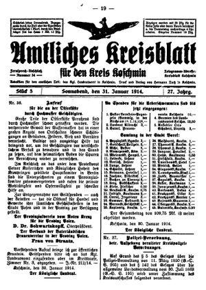 Amtliches Kreisblatt für den Kreis Koschmin vom 31.01.1914