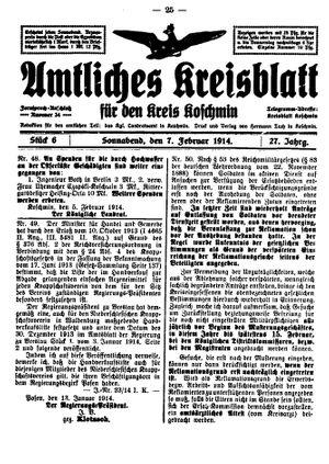 Amtliches Kreisblatt für den Kreis Koschmin vom 07.02.1914