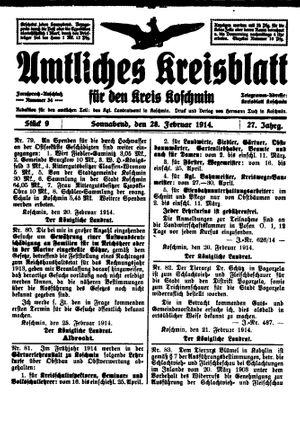 Amtliches Kreisblatt für den Kreis Koschmin vom 28.02.1914