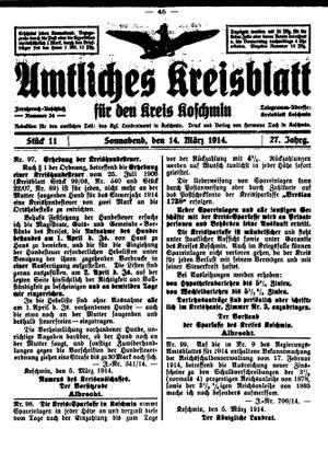 Amtliches Kreisblatt für den Kreis Koschmin vom 14.03.1914
