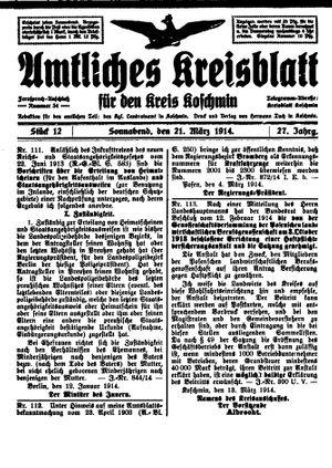 Amtliches Kreisblatt für den Kreis Koschmin on Mar 21, 1914
