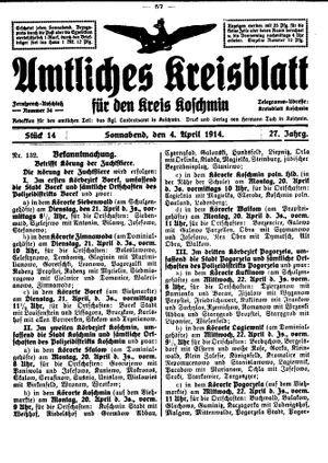 Amtliches Kreisblatt für den Kreis Koschmin vom 04.04.1914