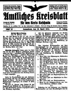 Amtliches Kreisblatt für den Kreis Koschmin vom 18.04.1914