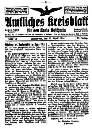 Amtliches Kreisblatt für den Kreis Koschmin vom 25.04.1914