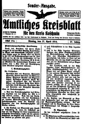 Amtliches Kreisblatt für den Kreis Koschmin vom 27.04.1914