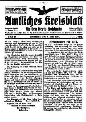 Amtliches Kreisblatt für den Kreis Koschmin vom 02.05.1914
