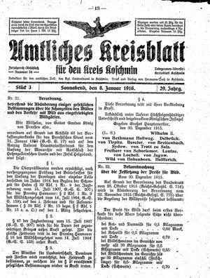 Amtliches Kreisblatt für den Kreis Koschmin vom 08.01.1916