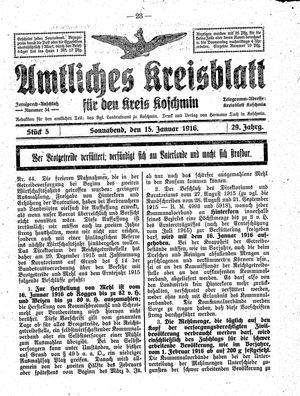 Amtliches Kreisblatt für den Kreis Koschmin vom 15.01.1916