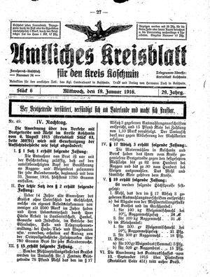 Amtliches Kreisblatt für den Kreis Koschmin vom 19.01.1916