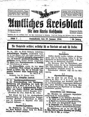 Amtliches Kreisblatt für den Kreis Koschmin vom 22.01.1916