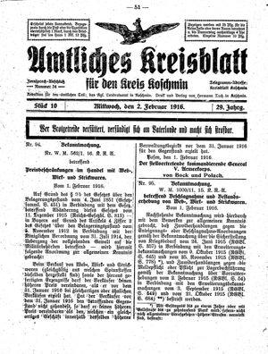 Amtliches Kreisblatt für den Kreis Koschmin vom 02.02.1916
