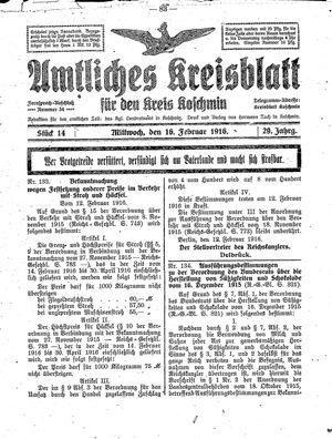 Amtliches Kreisblatt für den Kreis Koschmin vom 16.02.1916