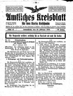 Amtliches Kreisblatt für den Kreis Koschmin vom 19.02.1916