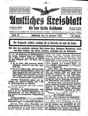 Amtliches Kreisblatt für den Kreis Koschmin on Feb 23, 1916