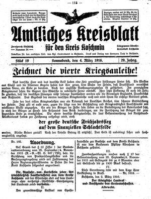 Amtliches Kreisblatt für den Kreis Koschmin vom 04.03.1916