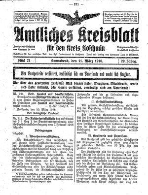 Amtliches Kreisblatt für den Kreis Koschmin vom 11.03.1916