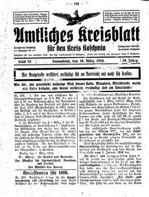 Amtliches Kreisblatt für den Kreis Koschmin vom 18.03.1916