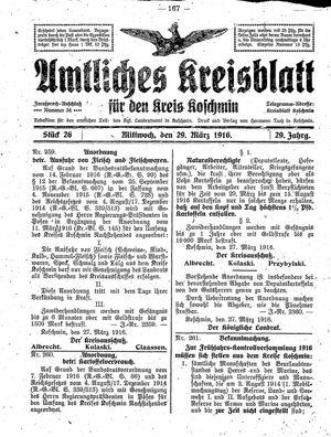 Amtliches Kreisblatt für den Kreis Koschmin vom 29.03.1916
