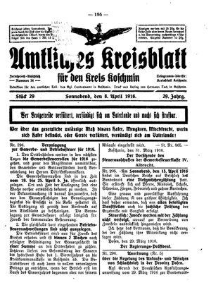 Amtliches Kreisblatt für den Kreis Koschmin vom 08.04.1916