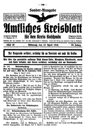 Amtliches Kreisblatt für den Kreis Koschmin vom 12.04.1916