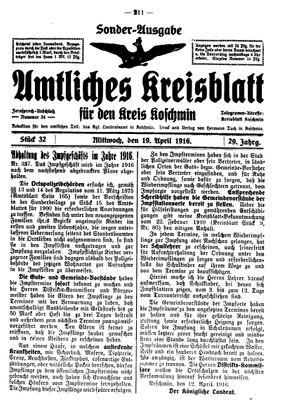 Amtliches Kreisblatt für den Kreis Koschmin vom 19.04.1916