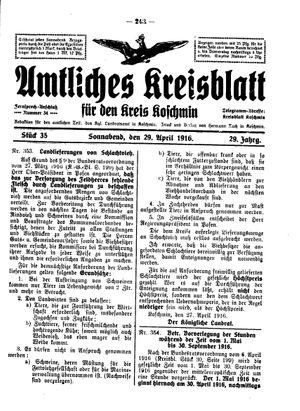 Amtliches Kreisblatt für den Kreis Koschmin on Apr 29, 1916