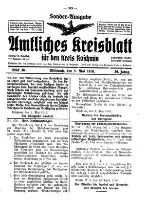 Amtliches Kreisblatt für den Kreis Koschmin vom 03.05.1916