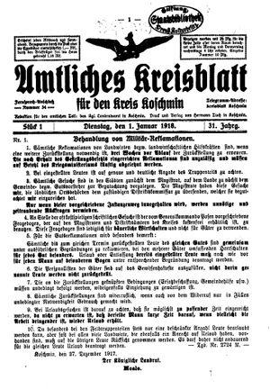 Amtliches Kreisblatt für den Kreis Koschmin vom 01.01.1918