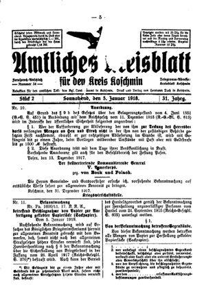 Amtliches Kreisblatt für den Kreis Koschmin vom 05.01.1918