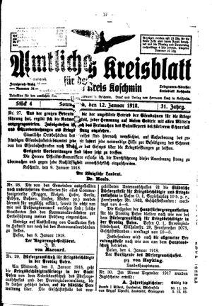 Amtliches Kreisblatt für den Kreis Koschmin vom 12.01.1918