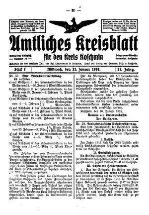 Amtliches Kreisblatt für den Kreis Koschmin vom 23.01.1918