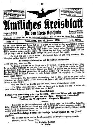 Amtliches Kreisblatt für den Kreis Koschmin vom 26.01.1918