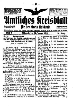 Amtliches Kreisblatt für den Kreis Koschmin vom 30.01.1918