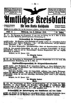 Amtliches Kreisblatt für den Kreis Koschmin vom 06.02.1918