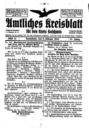 Amtliches Kreisblatt für den Kreis Koschmin vom 09.02.1918