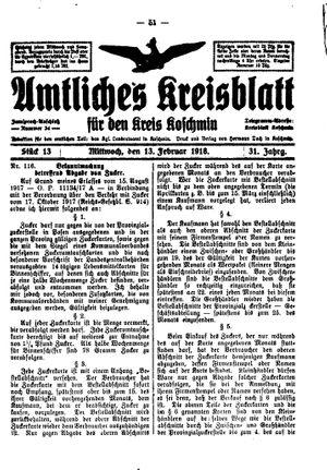 Amtliches Kreisblatt für den Kreis Koschmin vom 13.02.1918
