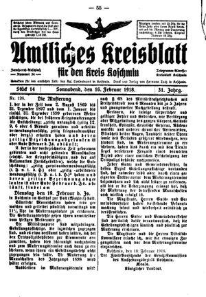 Amtliches Kreisblatt für den Kreis Koschmin vom 16.02.1918