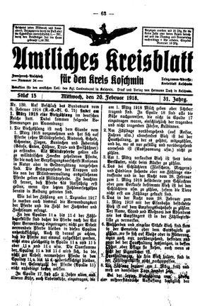 Amtliches Kreisblatt für den Kreis Koschmin vom 20.02.1918