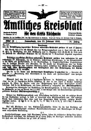 Amtliches Kreisblatt für den Kreis Koschmin vom 23.02.1918