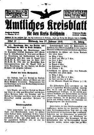 Amtliches Kreisblatt für den Kreis Koschmin vom 27.02.1918